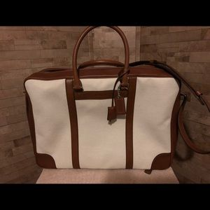 Coach Canvas Suitcase with Leather Trim